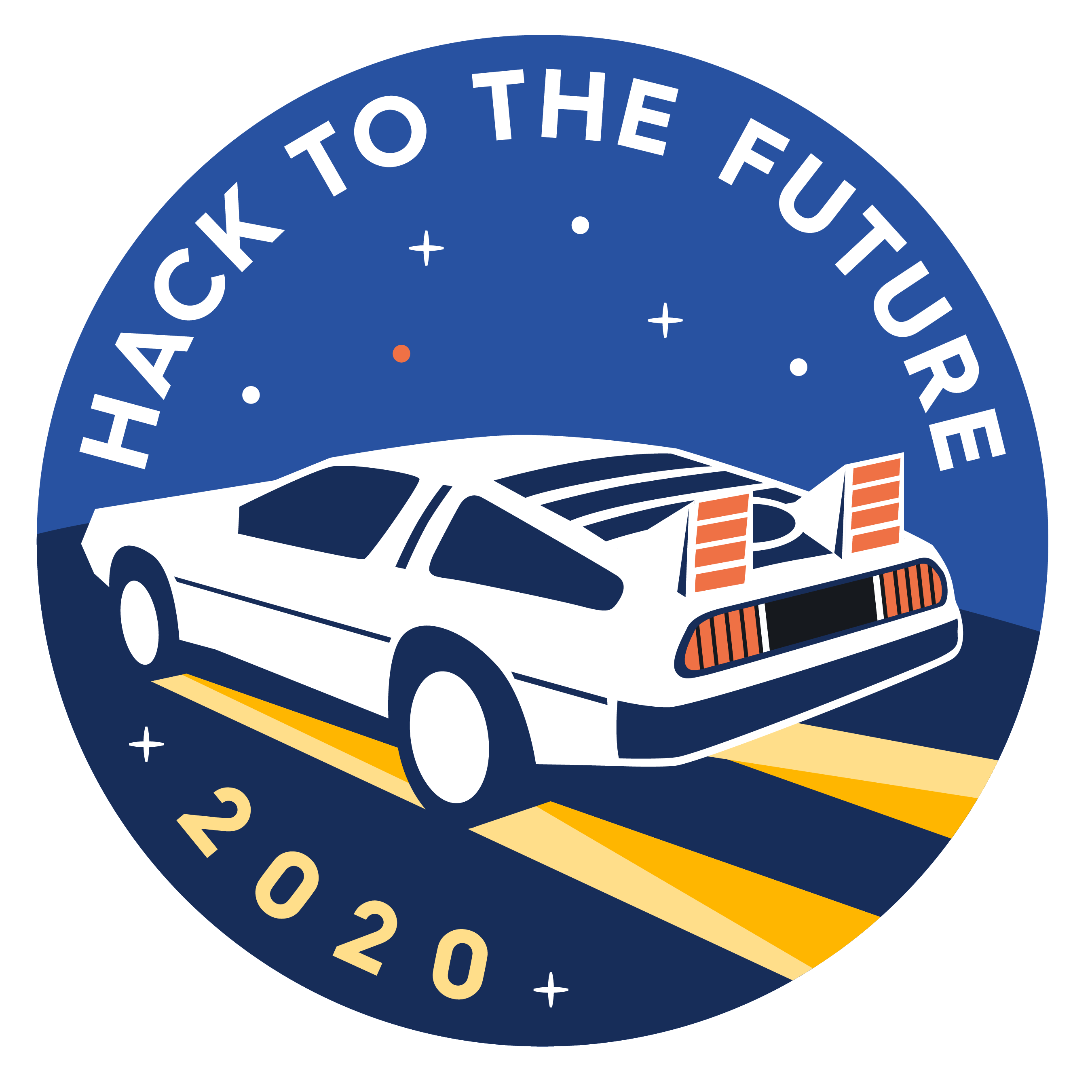A 2020 embroidered patch with a Back to the Future Theme